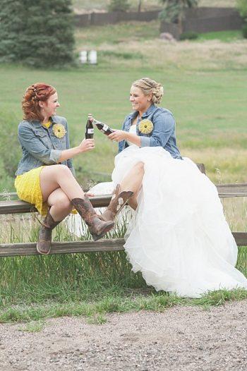 bride and bridesmaid   Colorado Wedding