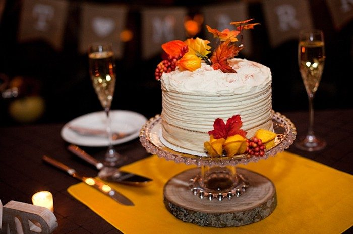 Fall inspired wedding cake