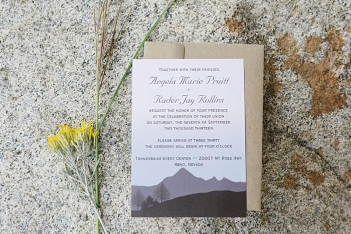 mountain inspired wedding invitation - Mount Rose Wedding