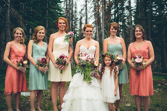 aqua and coral brides maid dresses