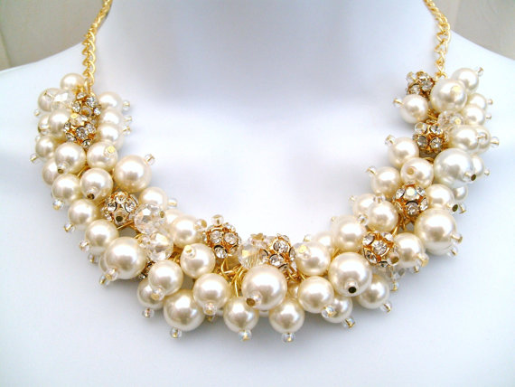 pearl rhinestone beaded necklace
