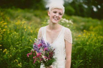 short haired Catskills bride