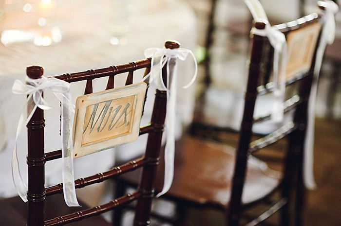 mrs and mrs chair back signs
