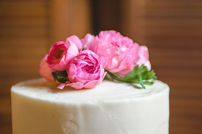 simple wedding cake with gorgeous flower topper Tennessee Vintage Mountain Wedding