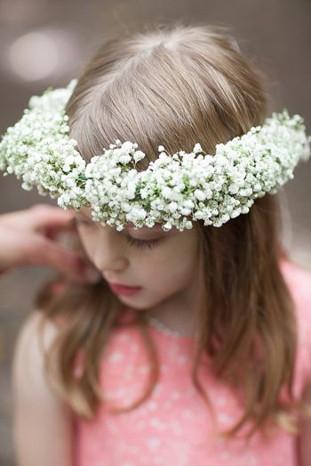 babys breath floral crown on flower girl
