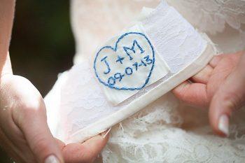 sewn wedding date in wedding dress