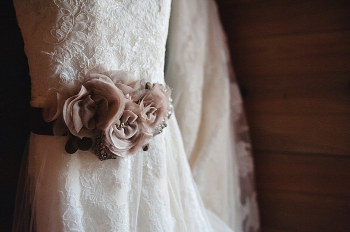 wedding dress with fabric flower belt | Tennessee Vintage Mountain Wedding