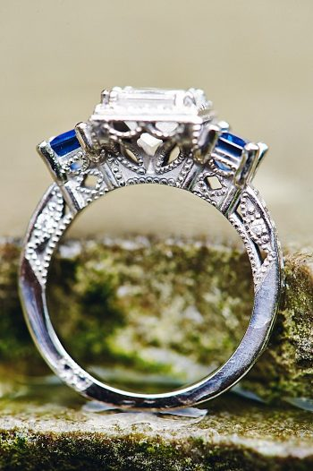 diamond engagement ring with sapphire