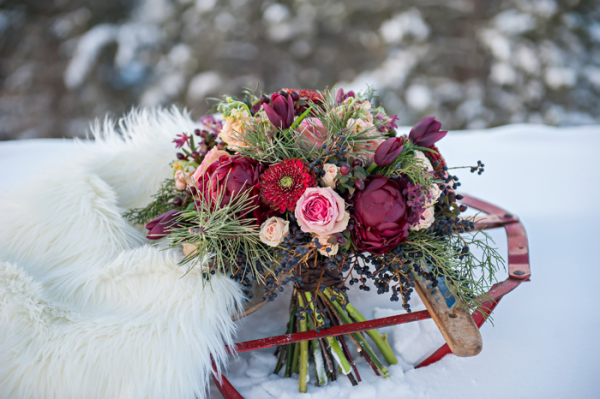 Red Floral and Pine Bouquet via EAD