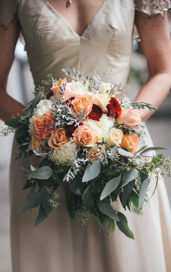 Gorgeous peachy and green wedding bouquet