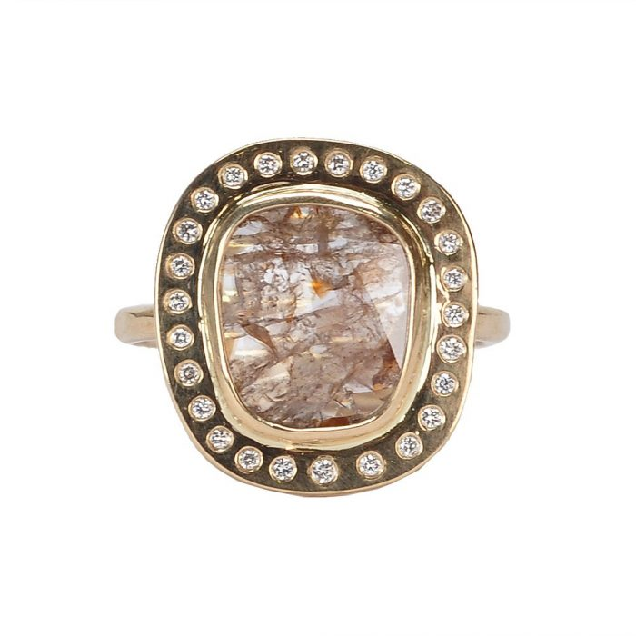 rutilated diamond halo ring see more at http://www.fragments.com/
