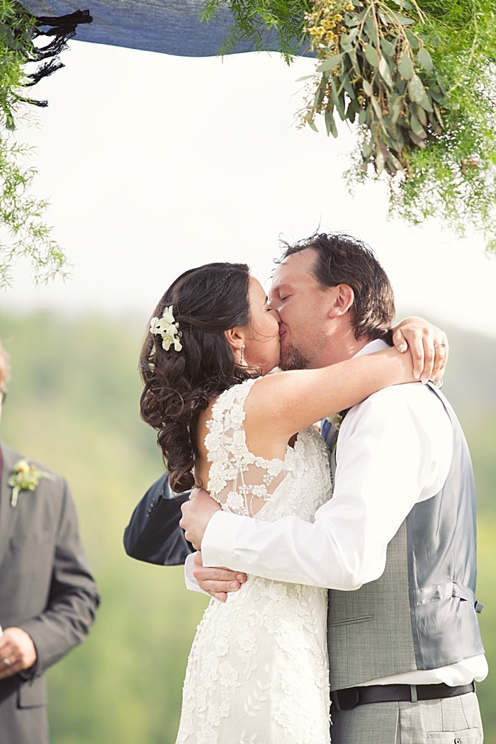 first kiss Asheville Wedding Marissa Joy Photography via Mountainside Bride