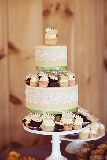 rustic 3-tiered wedding cake Asheville Wedding Marissa Joy Photography via Mountainside Bride