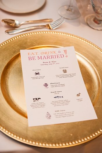 golden charger with custom menu | Photography by AMW Studios | see more on MountainsideBride.com