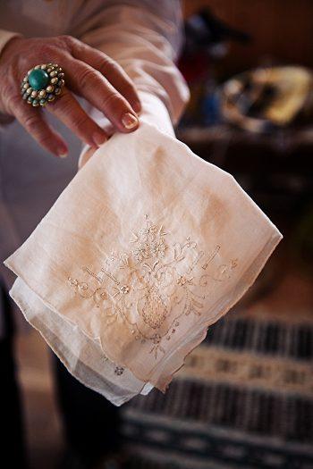 vintage lace handkerchief Asheville Wedding Marissa Joy Photography via Mountainside Bride