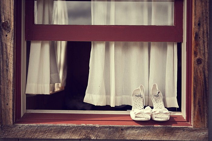 white wedding shoes Asheville Wedding Marissa Joy Photography via Mountainside Bride