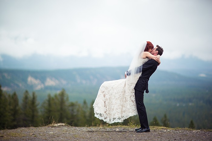 lovely mountain wedding portrait | Banff Wedding by Just for You Photography