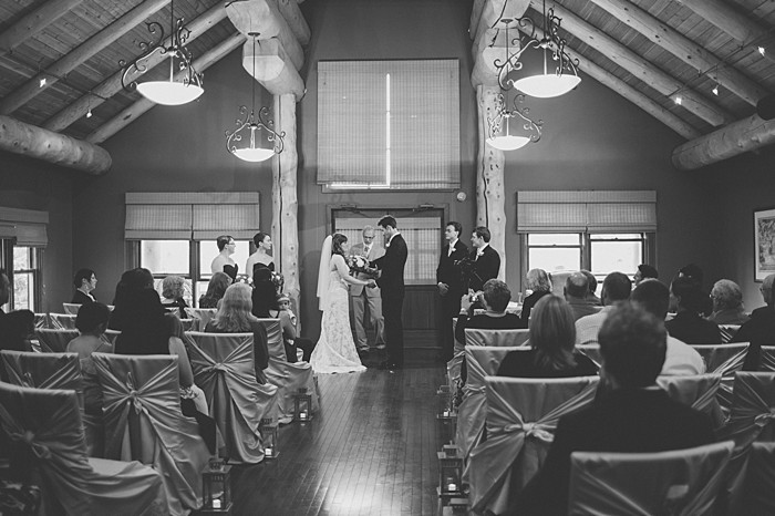 gorgeous lodge wedding ceremony| Banff Wedding by Just for You Photography