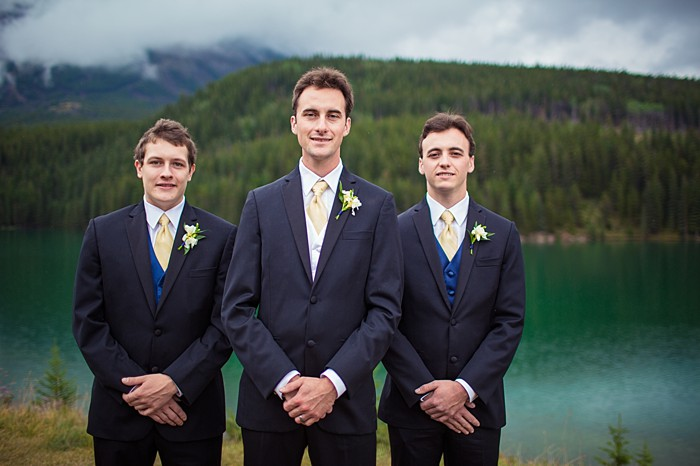 groomsmen in yellow ties| Banff Wedding by Just for You Photography