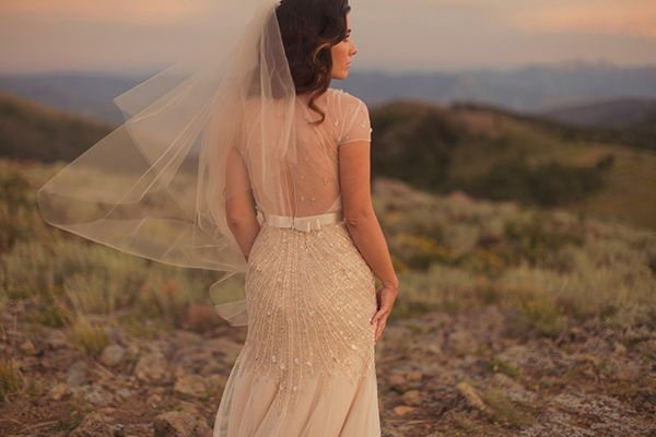 Gorgeous illusion back gown by Alixann Loosle Photography via Ruffled Blog