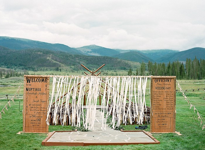 ceremony site Devils Thumb Ranch Wedding Laura Murray