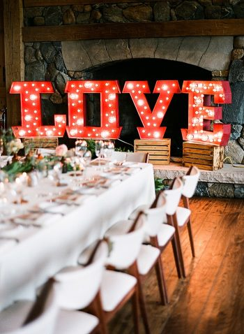 Love sign Devils Thumb Ranch Wedding Laura Murray
