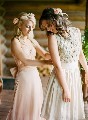 bridesmaids getting ready Devils Thumb Ranch Wedding Laura Murray