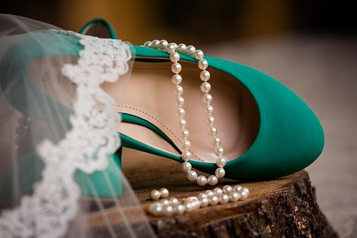 green wedding shoes western North Carolina handmade wedding by Shutter Love Photography