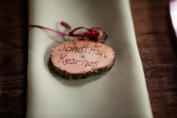 burned wooden placestettings western North Carolina handmade wedding by Shutter Love Photography