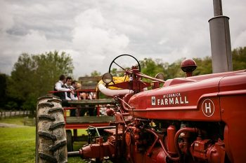 tractor ride western North Carolina handmade wedding by Shutter Love Photography