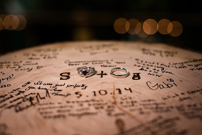 wooden round guest book western North Carolina handmade wedding by Shutter Love Photography