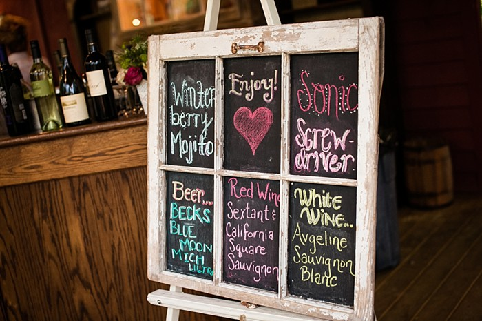 chalkboard window signature drink menu western North Carolina handmade wedding by Shutter Love Photography
