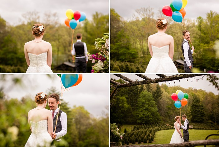first look with colorful balloons western North Carolina handmade wedding by Shutter Love Photography
