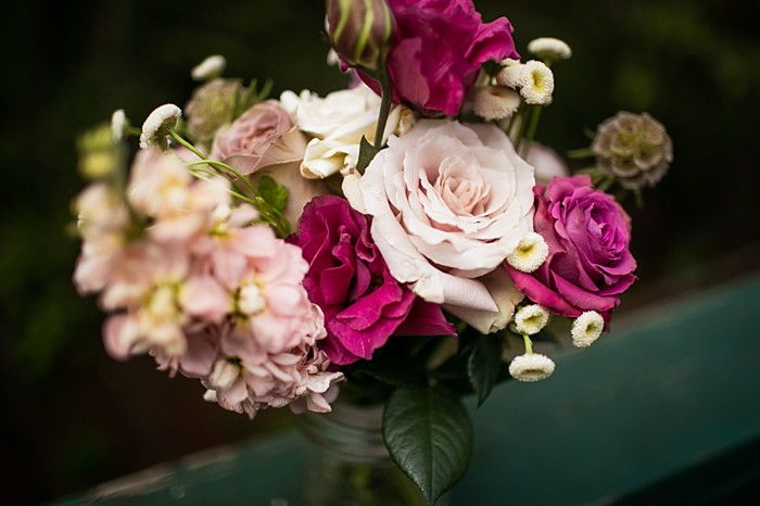 pale pink and maroon bouquet western North Carolina handmade wedding by Shutter Love Photography