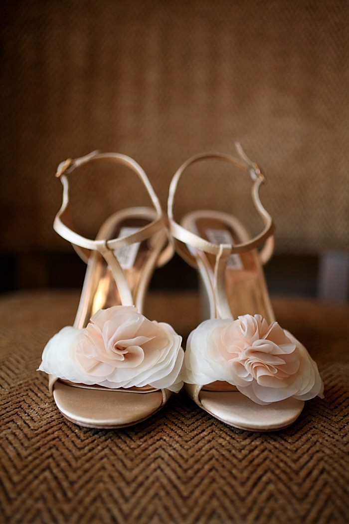 Blush ruffled wedding shoes | Deer Valley Utah Wedding Pepper Nix Photography