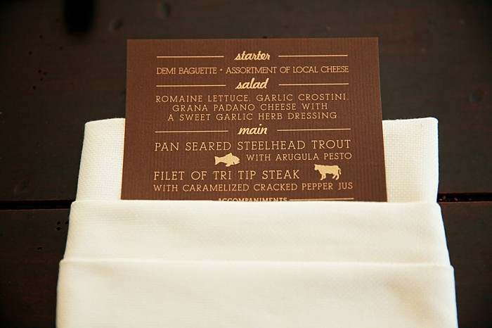 Brown and Gold menu card | Deer Valley Utah Wedding  | Pepper Nix Photography