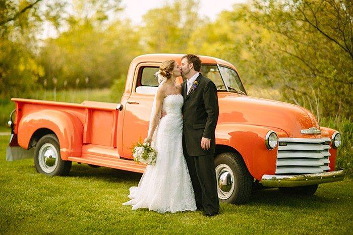 Orange vintage truck | Gedney Farms Wedding in the Berkshires| Shane Godfrey Photography