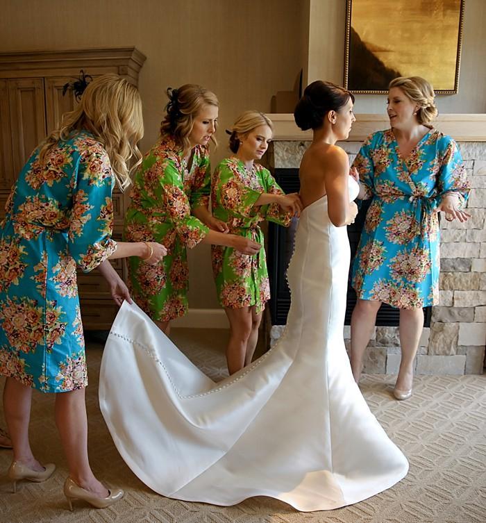 Bridesmaids in printed bathrobes   Deer Valley Utah Wedding   Pepper Nix Photography