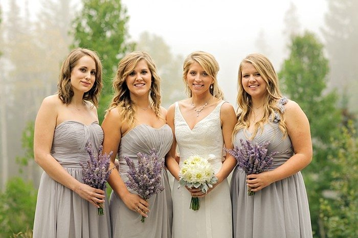 gray bridesmaids dresses | Snowbird Utah Wedding Logan Walker Photography