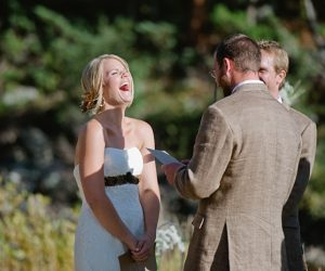 ceremony laugh | steamboat springs wedding | Andy Barnhart