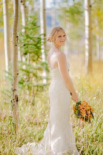 bride outdoor portrait | steamboat springs wedding | Andy Barnhart