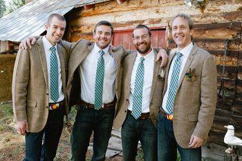 groomsmen in tweed plaid | steamboat springs wedding | Andy Barnhart