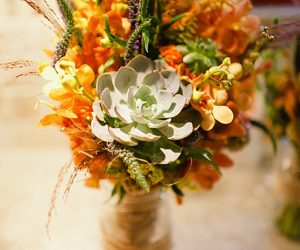 fall bouquet with succulent | steamboat springs wedding | Andy Barnhart