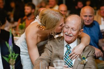 bride kisses father | steamboat springs wedding | Andy Barnhart