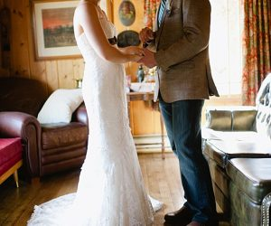 first look both smile | steamboat springs wedding | Andy Barnhart