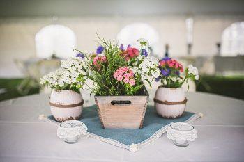 flower box centerpiece   Forest wedding in western North Carolina   Tesar Photography