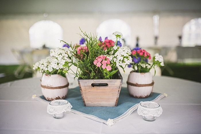 flower box centerpiece | Forest wedding in western North Carolina | Tesar Photography