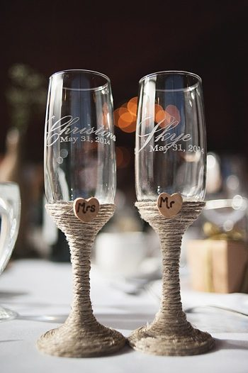 twine wrapped champagne glasses | Pyramid Lake wedding | Jarusha Brown Photography