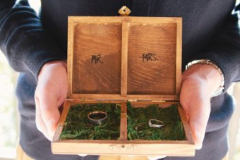 wedding rings in wooden box | Photography by Fox Owl Studio