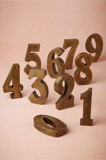 Antiqued Brass Table Numbers BHLDN